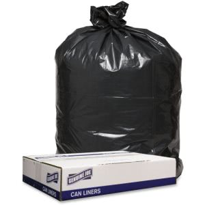 Genuine Joe 1.2mil Black Trash Can Liners, 56 Gallon, 43x47, 100 Bags (GJO98210)