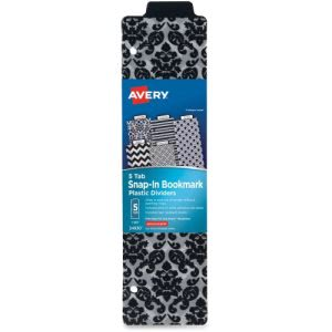 Avery Snap-In Bookmark Dividers, 3-Hole Punched, Assorted, 5 Dividers (AVE24930)