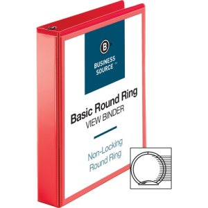 "Business Source View Binder, Round Ring, 1-1/2"", Red, 1 Each (BSN09967)"