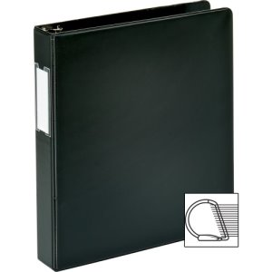 "Business Source Slanted D-Ring Binder W/Lbl Hld, 1-1/2"", Black (BSN33125)"