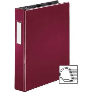 "Business Source Slanted D-Ring Binder W/Lbl Hld, 1-1/2"" Burgundy (BSN33126)"