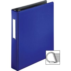 "Business Source Slanted D-Ring Binder W/Lbl Hld, 1-1/2"", Blue, 1 Each (BSN33127)"