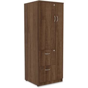 Lorell Essentials 2-Drawer Storage Cabinet, 23.6 x 65.6, Walnut, Each (LLR69889)