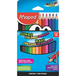 Maped Pencils, Jumbo, 12/ST, Assorted Colors (HLX834049ZV)