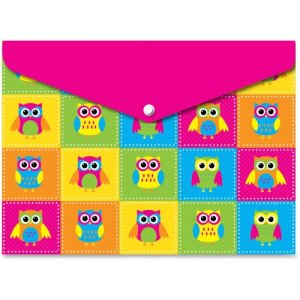 "Ashley Owls Poly Folders, 9-1/2""x13"", Heavyweight, 6 Folders (ASH90602)"
