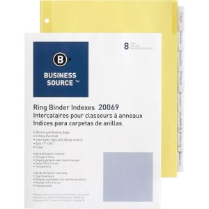 "Business Source Binder Indexes, 11""x8-1/2"",8 Tab, 50 Indexes (BSN20069BX)"