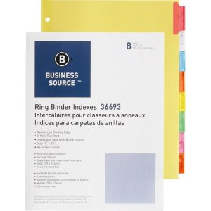 "Business Source Ring Binder Indexes,1-1/2"" Tabs, 8-Tabs, 50 Indexes (BSN36693BX)"