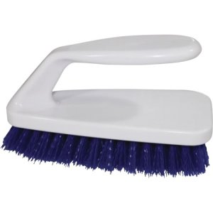 "Genuine Joe 6"" Iron Handle Scrub Brush, Plastic, Blue/White, Each (GJO99658)"
