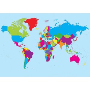 "Ashley World Map, Magnetic, Write-On/Wipe-Off, 12""Wx17""H, Assorted (ASH77013)"