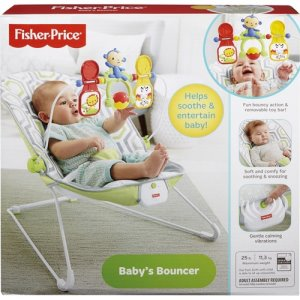 "Fisher-Price Baby's Bouncer, 24""Wx18-9/10""Lx20-1/10""H, Gray/White (FIPCMR17)"