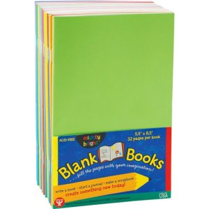 "Hygloss Blank Book, Acid-Free, 5-1/2""Wx8-1/2""H, 20/PK, Assorted (HYX77720)"