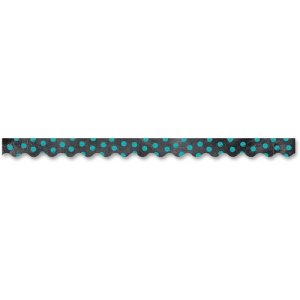 Creative Teaching Press Chalkboard Border, Turquoise Dots/Black, Each (CTC02161)