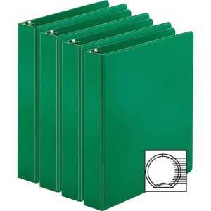 "Business Source Binders, Round Rings, 1-1/2"" Cap, 4 Binders, Green (BSN28557BD)"