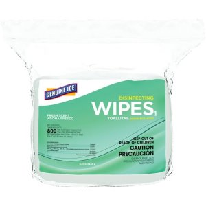 Genuine Joe Cleaning Wipes, Disinfecting, Alcohol-Free, 800/BG, White (GJO14145)