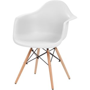 "Iris Plastic Shell Chair with Arm Rest, 24""x24""x32"", White, 2 Chairs (IRS586715)"