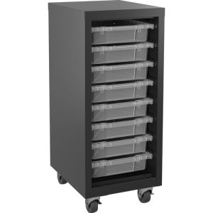 "Lorell Storage Unit, w/ Bins, 15""Wx18""Lx36""H, Black/Clear (LLR71104)"