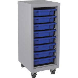 "Lorell Storage Unit, w/ Bins, 15""Wx18""Lx36""H, Platinum/Blue (LLR71106)"