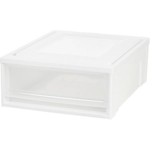 "Iris Stacking Drawer, 22QT, 15-3/4""Wx19-3/5""Lx7""H, 4/CT, White (IRS129770)"
