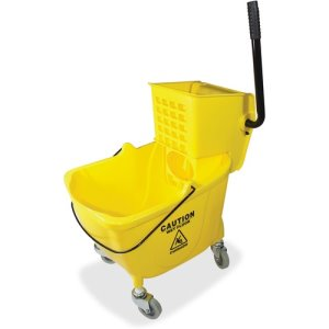 Genuine Joe Bucket/Wringer Combo, 35 Gallon, Yellow, 18/PL (GJO02347PL)
