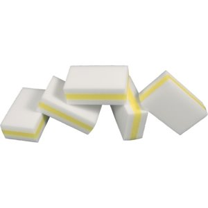 Genuine Joe Dual-Sided Melamine Eraser Amazing Sponges, W/Y,5 Sponges (GJO85165)
