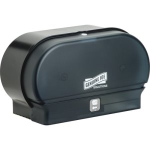 Genuine Joe Bathroom Tissue Dispenser, 2-Roll Cap, Black, 6/Carton (GJO98213CT)