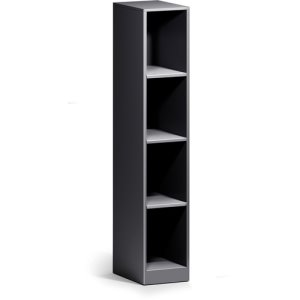 Lorell Trace Single-Wide 4-Shelf Cubby, 12 x 18, Metal, Black, Each (LLR01925)