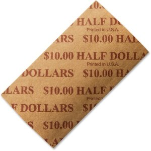 ICONEX Flat Coin Wrappers,Half-Dollars,10 Dollars/Wrap,1000/Pk,Bf (ICX94190055)