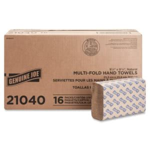 Genuine Joe Multi-Fold Natural Paper Towels, 4,000 Towels (GJO21040)