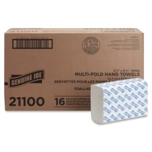 Genuine Joe Multi-Fold White Paper Towels, 4,000 Towels (GJO21100)