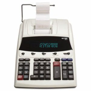 Victor Two-Color Printing Calculator, 12-Digit Fluorescent (VCT12304)