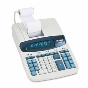 Two-Color Printing Calculator, 12-Digit Fluorescent, Black/Red (VCT12603)