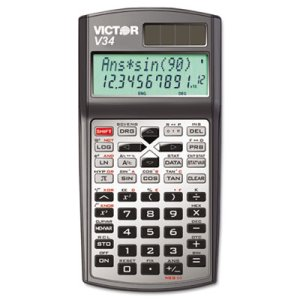 Victor V34 Advanced Scientific Calculator, Black/Gray (VCTV34)