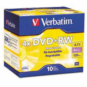 Verbatim DVD+RW Discs, 4.7GB, 4x, w/Slim Jewel Cases, Pearl, 10/Pack (VER94839)