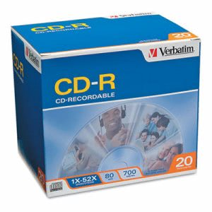 Verbatim CD-R Discs, 52x, w/Slim Jewel Cases, Silver, 20/Pack (VER94936)