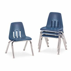 Virco 9000 Series Classroom Chairs, Navy/Chrome, 4 Chairs (VIR901251)