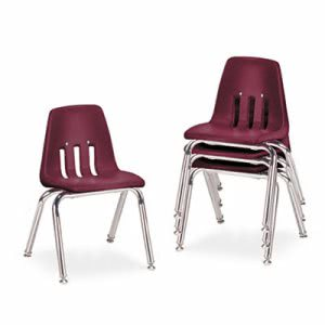 Virco 9000 Series Classroom Chairs, Wine/Chrome, 4 Chairs (VIR901450)