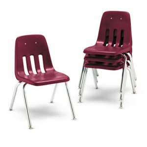 Virco 9000 Series Classroom Chairs, Wine/Chrome, 4 Chairs (VIR901650)