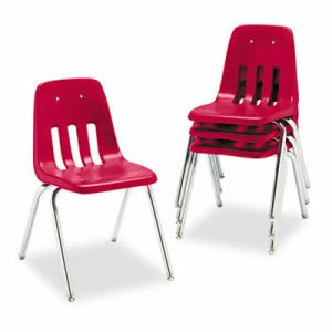 "Virco 9000 Series Classroom Chair, 18"" Height, Red/Chrome, 4/Carton (VIR901870)"