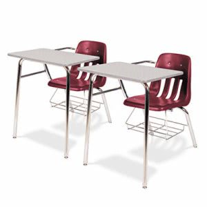9400 Series Chair Desk, Gray Nebula/Wine, 2Chair Desks (VIR9400BR50091)