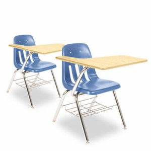Virco 9700 Series Chair Desk, Fusion Maple/Blue, 2 Chair Desks (VIR9700BR40385)