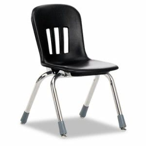 "Classroom Chair, 12-1/2"" Seat Height, Black/Chrome, 5/CT (VIRN912BLK01CHM)"