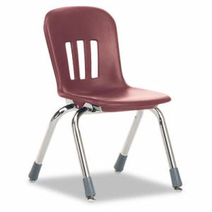 "Classroom Chair, 12-1/2"" Seat Height, Wine/Chrome, 5/CT (VIRN912RED50CHM)"