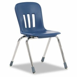 "Virco Metaphor Classroom Chair, 16-1/2"" Seat Height, Navy Blue/Chrome, 4/Carton (VIRN916BLU51CHM)"