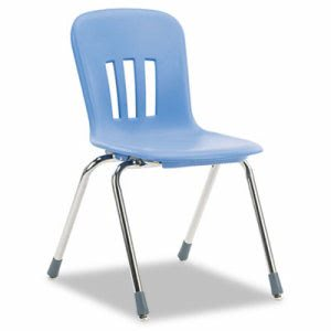 "Classroom Chair, 18"" Seat Height, Blueberry/Chrome, 4/CT (VIRN918BLU40CHM)"
