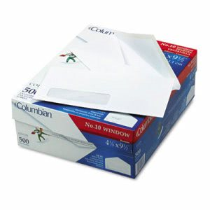 Columbian Poly-Klear Single Window Envelopes, #10, White, 500/Box (QUACO170)