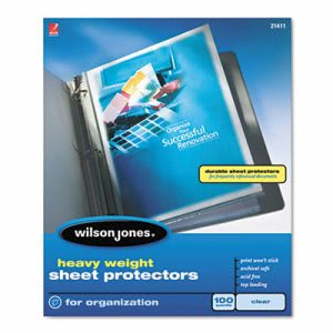 Wilson Jones Heavy Weight Sheet Protector, Clear, 100/Box (WLJ21411)