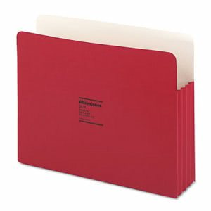 "Wilson Jones 3 1/2"" Expanding File Folder, Letter, Red, 25 Folders (WLJ64R)"