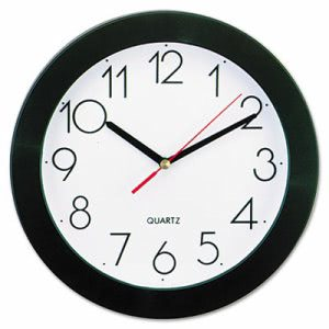 Universal Round Wall Clock, 9-3/4in, Black (UNV10421)