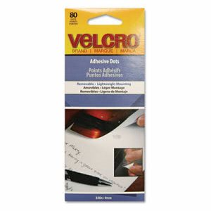 "Velcro Adhesive Dots, Removable, 3/8"" Diameter, 80/Pack (VEK91394)"