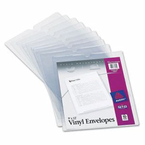 Avery Top-Load Clear Vinyl Envelopes, 9 x 12 Insert, 10 Envelopes (AVE74804)